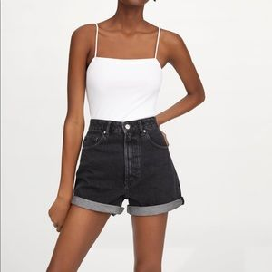Zara Denim Black Mom Fit Shorts